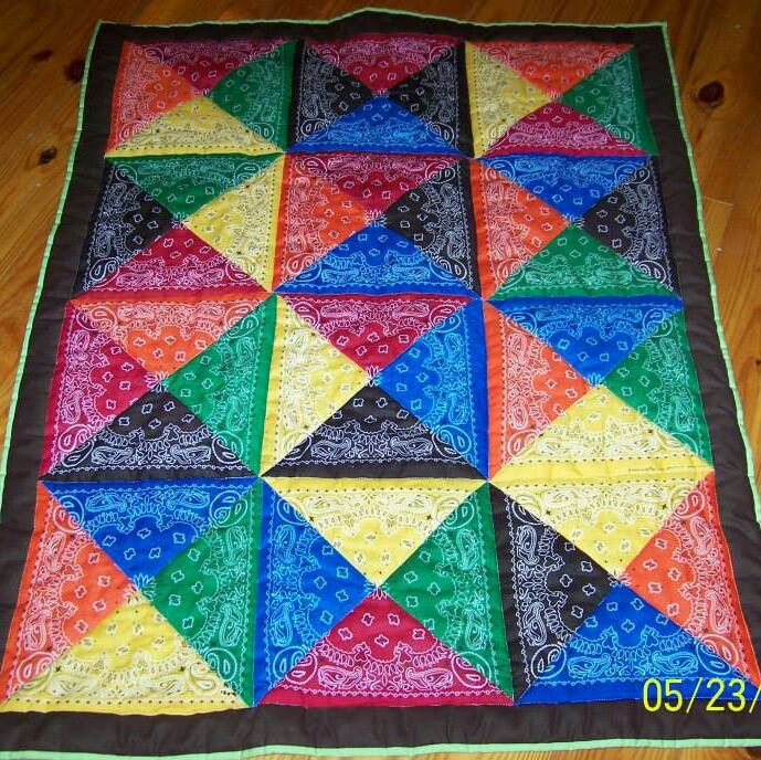 I work with juvenile offenders and I have always wanted to make a wall hanging by quilting together all of my confiscated gang bandanas and flags.   I have to try this!!!