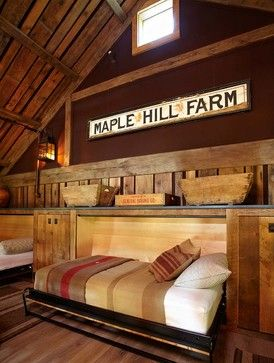 What a great idea for twin murphy beds!  Barn and Entertainment/Music Performance Space - rustic - bedroom - new york - Kelly & Co.