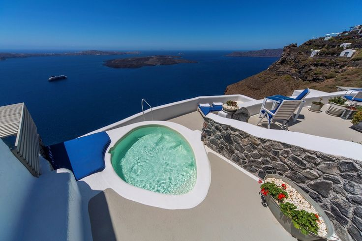 Slide into your own jetted pool on the rim of the stunning caldera!