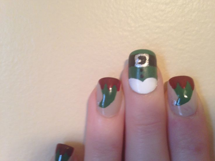 Christmas nails! Elves hat and suit