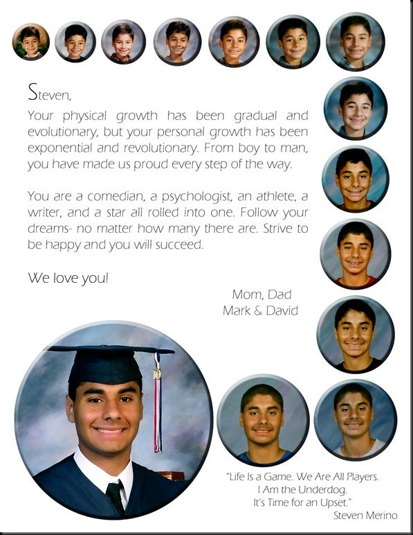 A great way to remember how you have grown throughout your years before college. I like that way the pictures start out small and get bigger as the time goes on.