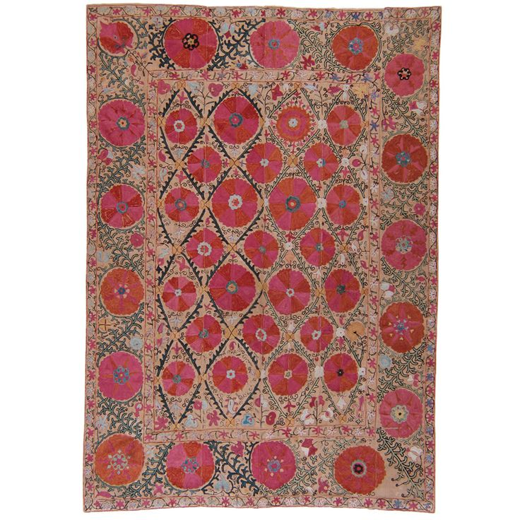 19th century  Antique suzani from Uzbekistan. Pieces like this are associated with wedding customs and are among the most impressive examples of textile art.