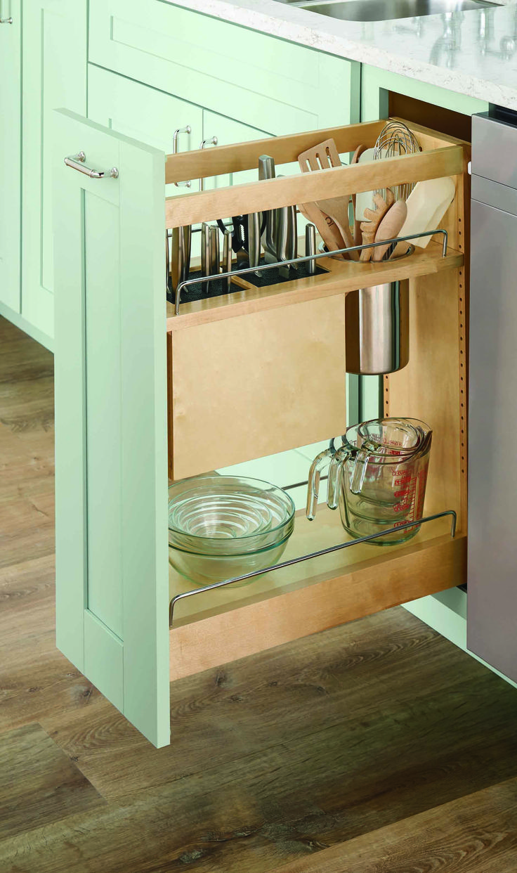 a base pull out with knife and utensil organization helps free up counter space and is a safe place to store knives and other sharp kitchen items: kitchen items store