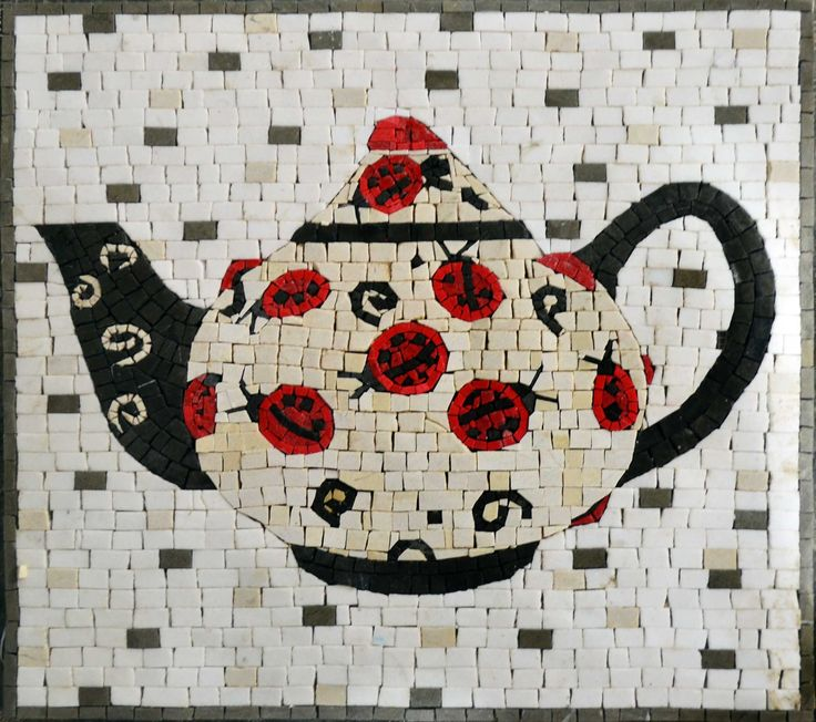 Cute Tea Kettle Mosaic Art Kitchen Back splash