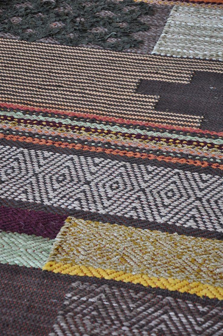 "Viktoria: Loppberga | rag ""patchwork experiment"" | gåsögon: bird's eye twill + plain weave + inplock: inlay + rölakan: clasped weft | Stallarholmen, Sweden | 2014"