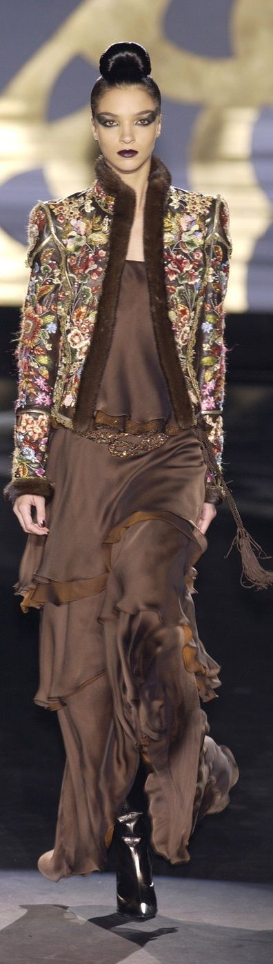Valentino ~ Couture Chocolate Brown Silk Gown w Multi Floral Embroidered Jacket 2002