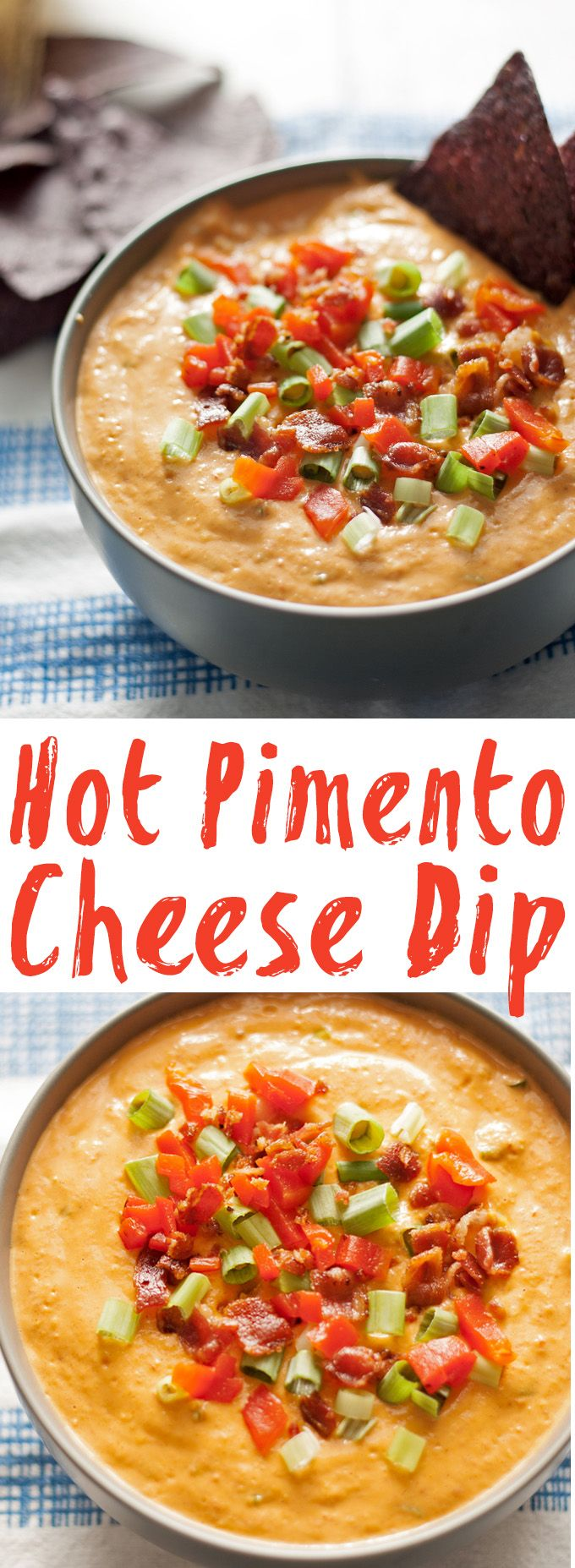 Make this hot pimento cheese dip the next time you are throwing a party or tailgating! It's the perfect fun appetizer! | honeyandbirch.com