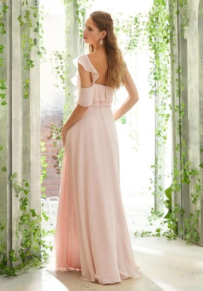 dbe717fe3cc Morilee Bridesmaids 21603 One Shoulder Chiffon with Side Slit Bridesmaids  Dress