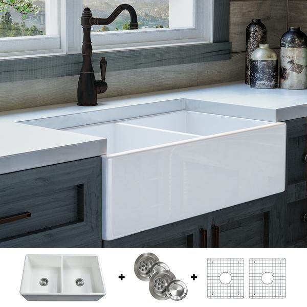 Fsw1003 Luxury 33 Inch Pure Fireclay Modern Farmhouse Sink In White Double Bowl Free Grids Farmhouse Sink Kitchen Modern Farmhouse Kitchens Double Bowl Kitchen Sink