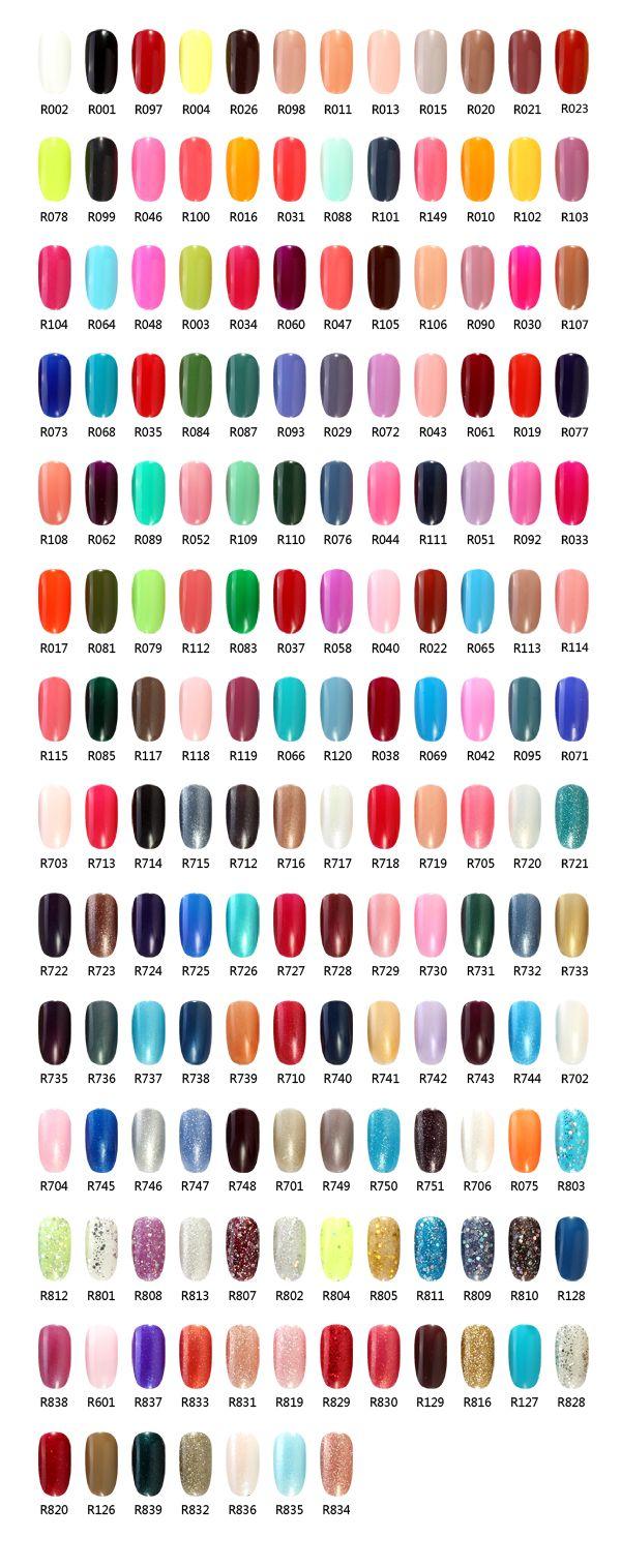 R S Nail Brand Gel Polish Color Chart Nail Colors Pinterest Gel Polish Colors Gel Polish