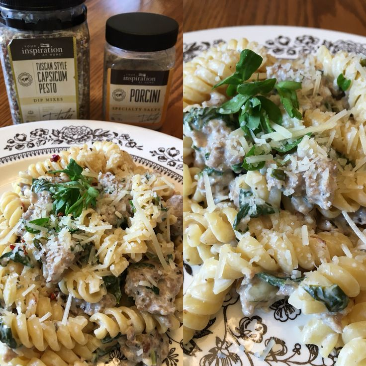 Creamy Tuscan Style Pesto Pasta~  1 pound of lean pork sausage, browned with one diced small onion. Add 1 cup of milk (I used skim milk), 8 ounces low-fat cream cheese, 1 tablespoon Tuscan Style Capsicum Pesto dip mix- simmer until all the cream cheese is blended in with the milk. If it reduces too much, add a bit more milk. Add a large handful of fresh spinach, chopped, and a handful of micro greens (I used my favorite – pea sprouts). Stir until wilted. Add 1/4 tsp Porcini Salt and cooked…