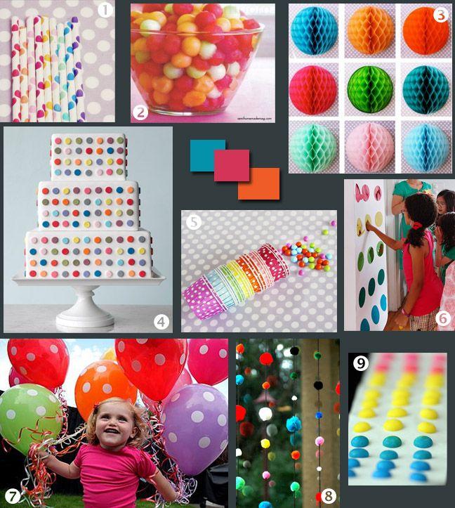 The Contemplative Creative: Idea Board : Polka-Dot Party 2  I like the idea of melon balls!
