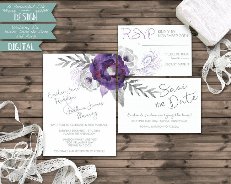 Printable Wedding Kit - Silver and Purple Watercolor Flowers - Digital File - Invite, Save the Date, RSVP Card - Customizable by ABeautifulLifeDesign on Etsy