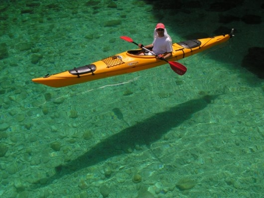 Love the clear water and the reflection of the kayak.
