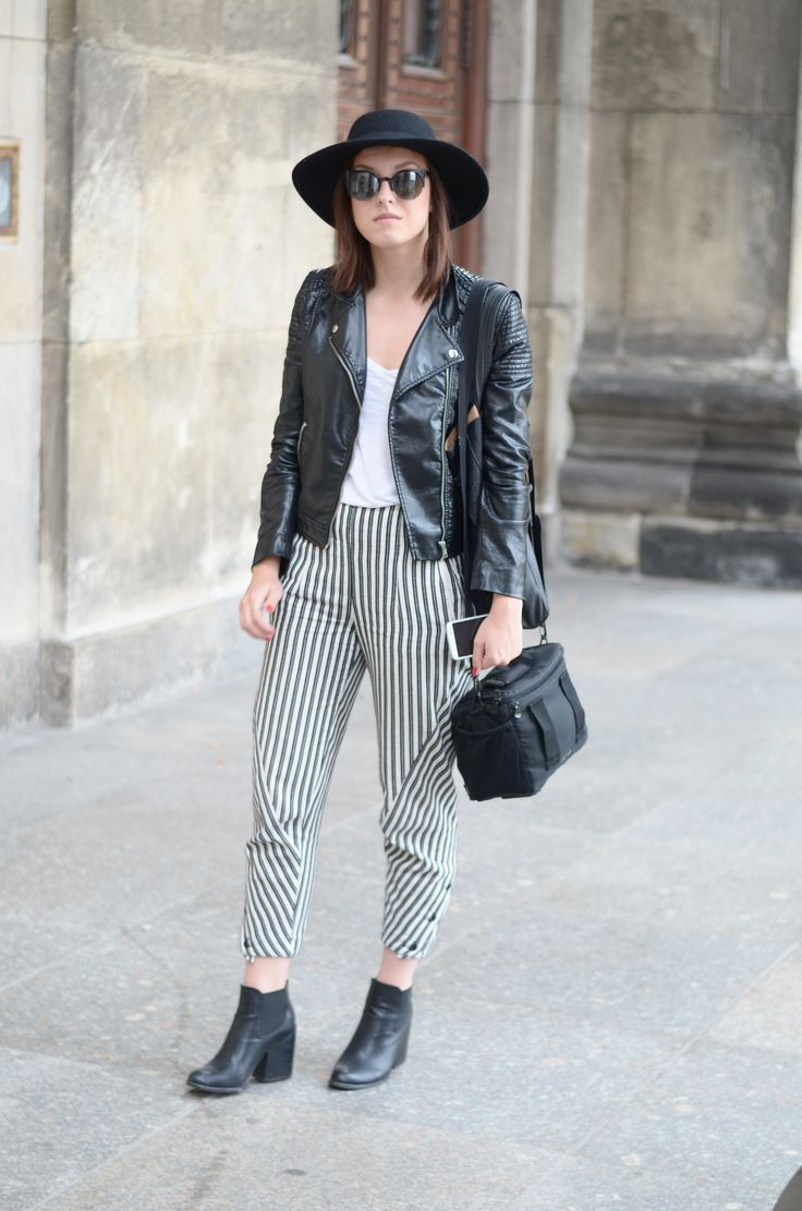 #fashion #streetsyle #hat #stripes #leather #jacket