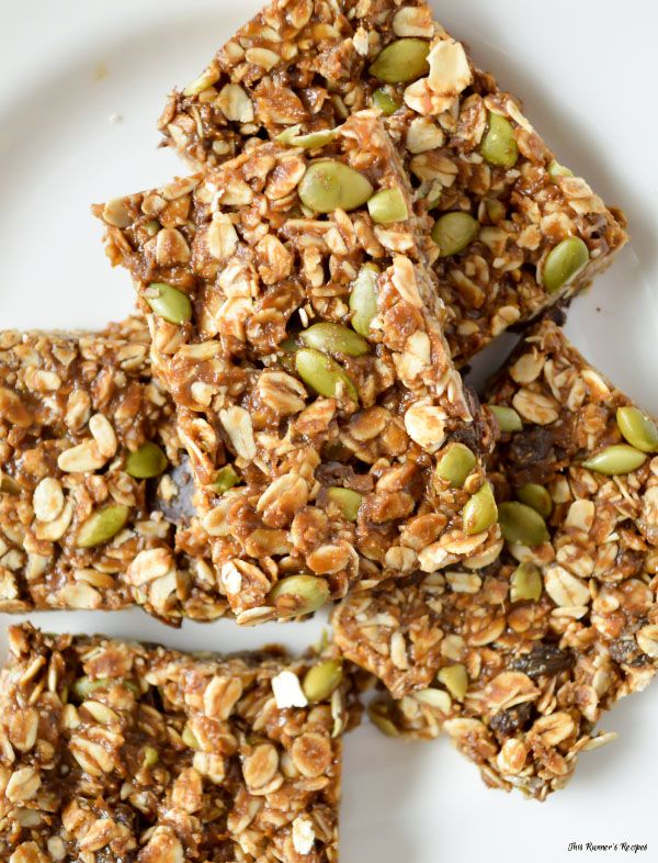 Enjoy a nutritious, vegetarian and gluten free, and portable snack after your next run or hike with these molasses and pumpkin seed no bake granola bars.