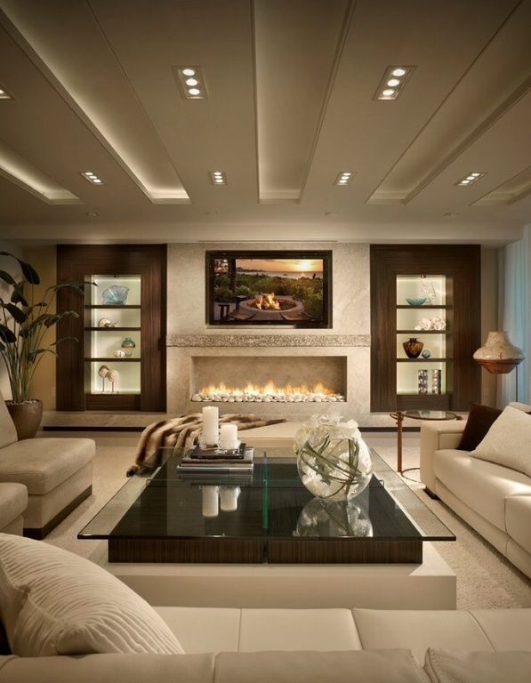 Contemporary Living Room With Built In Bookshelf Montigo Rp Series Linear Gas Fireplace Box Ceiling Carpet Es And Great Rooms Pinterest