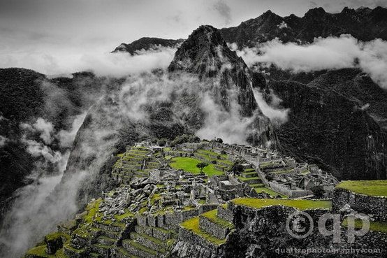 Machu Picchu black and white hand colored. Prints available