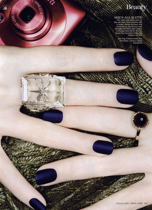 OPI Matte Nail Lacquer in Russian Navy. Marie Claire Editorial Alpha Nails, August 2009