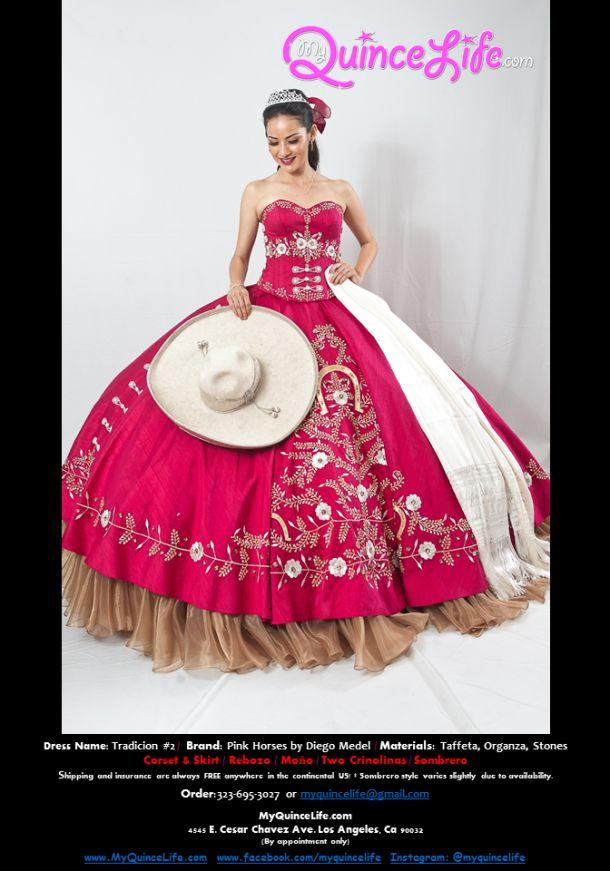 Burgundy charro Quinceanera dress / Vestido charro de quinceanera