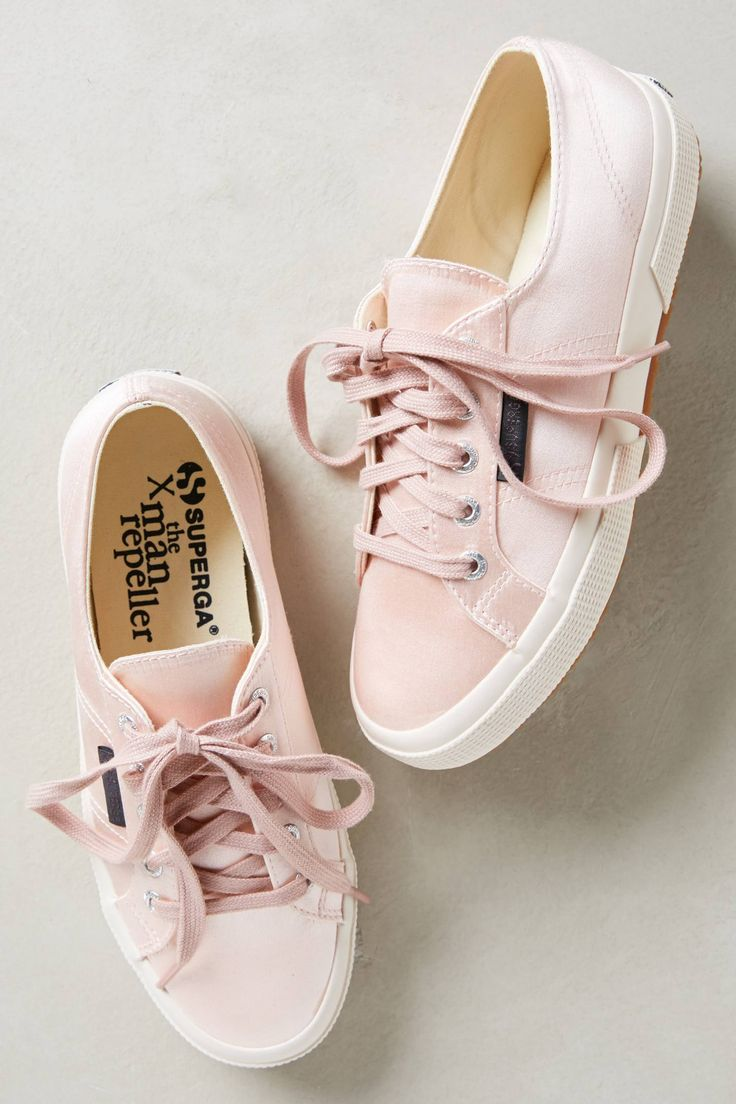 So cute! A classic sneaker gets a ballet-inspired finish with lustrous satin, perfect for pairing with sheaths, shifts & pencils for a sporty-chic look. #Anthropologie