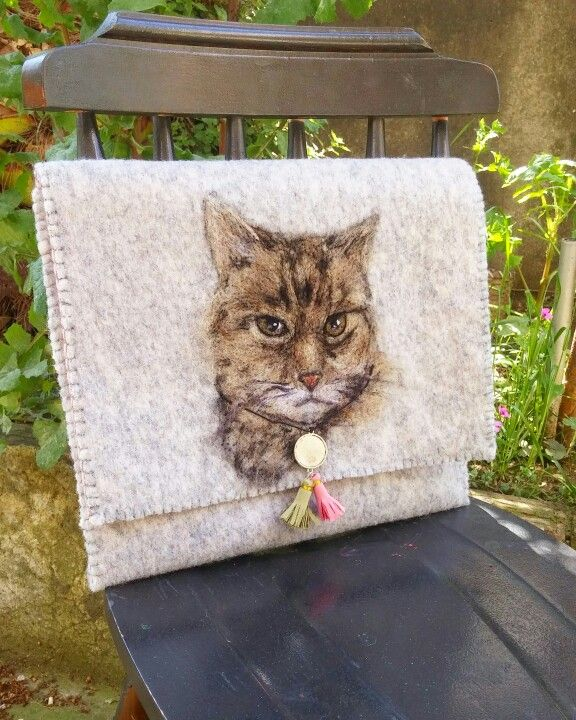 Needlefelting cat. Bag , clutch , cat ,kedi