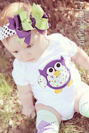 Purple & Green Owl Onesie Leggings Hair Bow Outfit Set