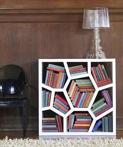 geometric bookshelves.  Interesting, though I'm not sure my OCD would allow this item in my house.  Though...it might help the OCD by forcing me to deal with ordered chaos, so to speak.