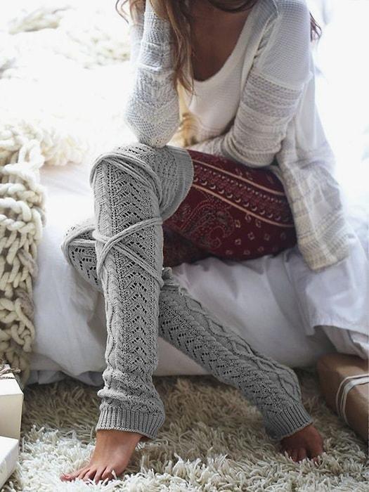 0d53c02da ... Long Leg Warmer Winter Socks. Textured Lace Up Over The Knee Stockings