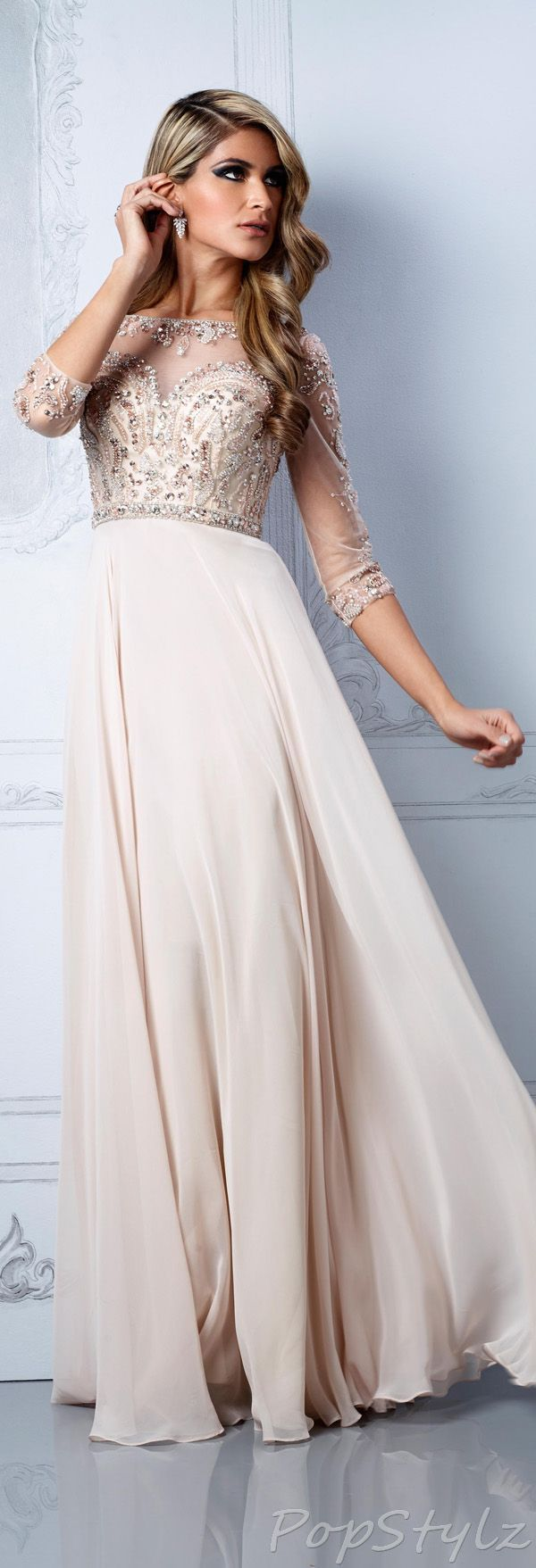 beautiful romantic modest dress for a simple elegant wedding | sheer embellished three-quarter sleeves | fitted bodice with beaded, sequin and embellishment detail | skinny rhinestone studded waistband | simple full flowing chiffon or silk skirt