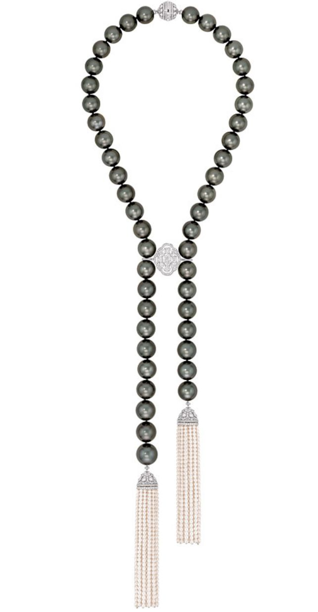 Perles de Nuit necklace of black pearls with white pearls and diamonds