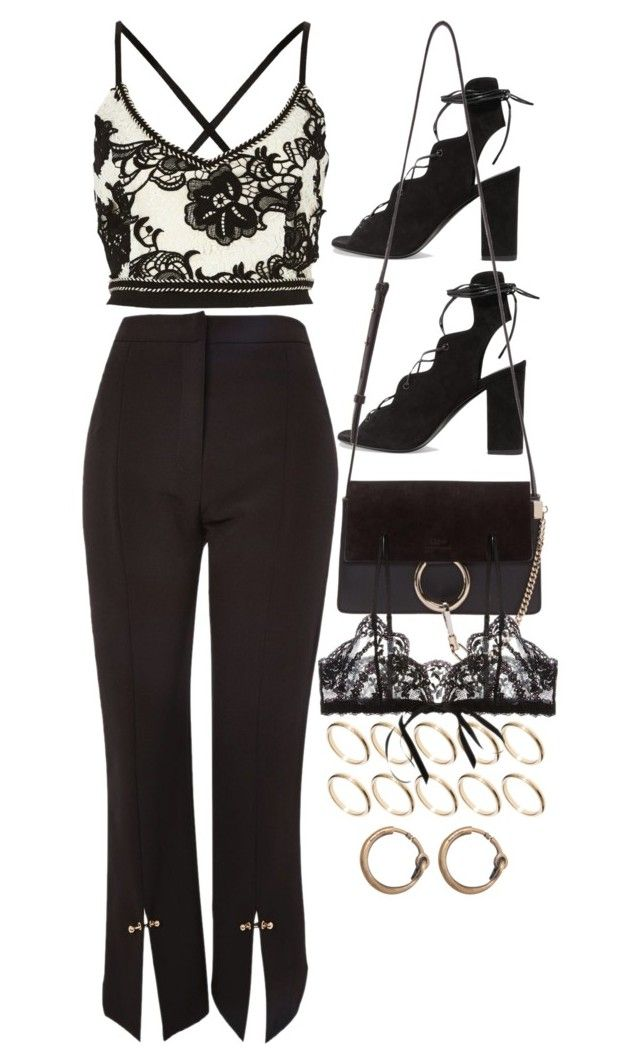 """Untitled #10619"" by nikka-phillips ❤ liked on Polyvore featuring Topshop, River Island, ASOS, Yves Saint Laurent, Chloé, Hanky Panky and Acne Studios"