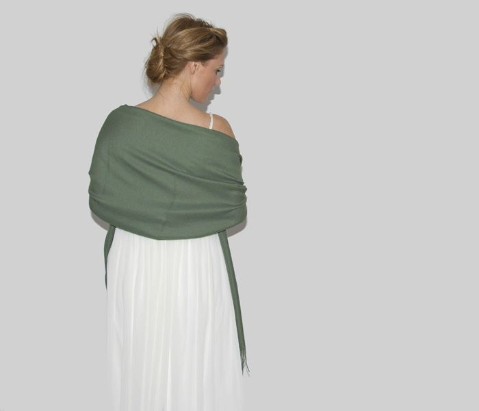Khaki GreenWedding Pashmina This beautiful Italian Super Soft Italian Wedding Pashmina Shawl WrapScarf in Khaki Greenis the perfect wedding pashmina. This Khaki Green wedding pashmina may be worn as a bridal pashmina, a bridesmaidpashmina or as a beautiful complement to a guest's formal outfit. These shawls for weddings are available in a