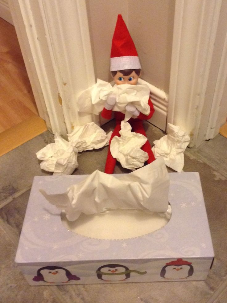 Elf on the shelf is sad because the kids did not sleep home!