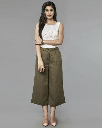 Olive Linen Culottes I Shop at :http://www.thesecretlabel.com/designer/post-fold