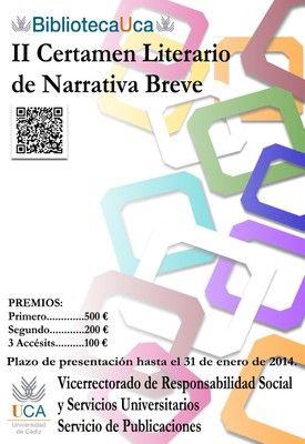 "Cartel del II Certamen Literario de Narrativa Breve ""BibliiotecaUca"""