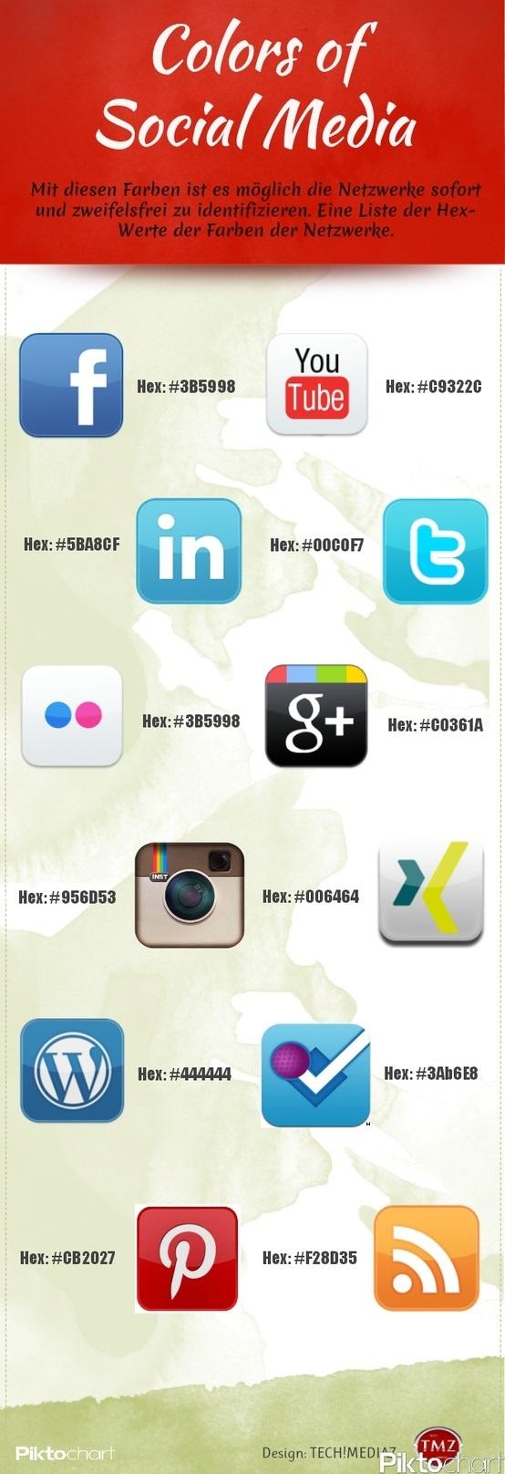 Les codes couleur hexadécimaux des principaux réseaux sociaux : Facebook, Twitter, Google +…