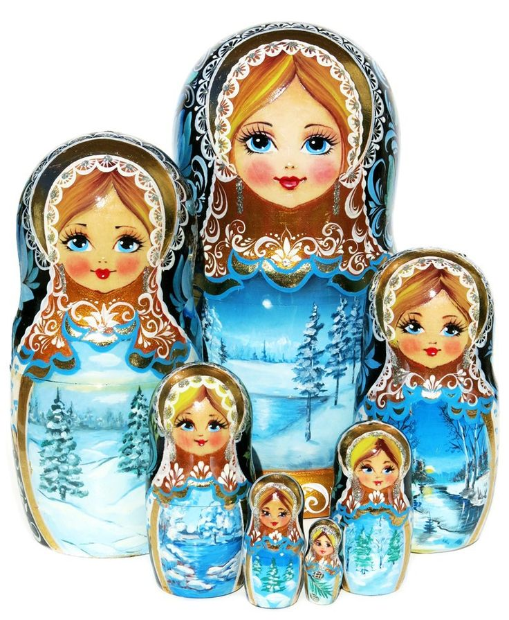 Elegant beauty of shimmer colors and sparking accents make this large winter 7 piece nesting doll a great gift. Only 1 in stock. Free shipping in USA.