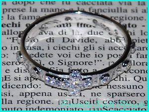 Santo Rosario Anello argento 925 con zirconi bianchi su croce su grani