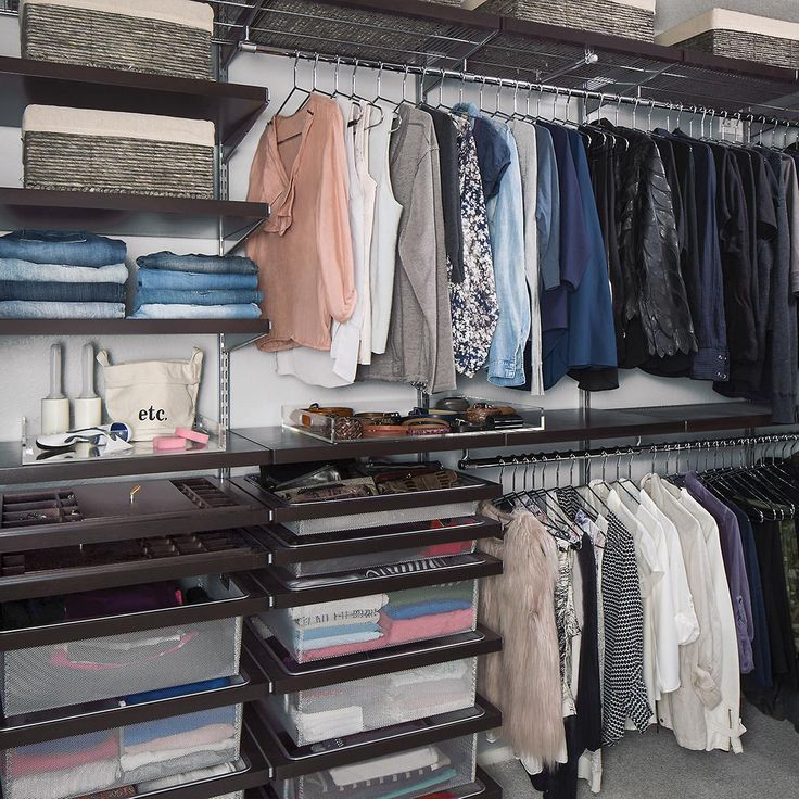 Walnut Elfa Decor Closet From Container Store. Customized To Fit Space But  Additional Components Can