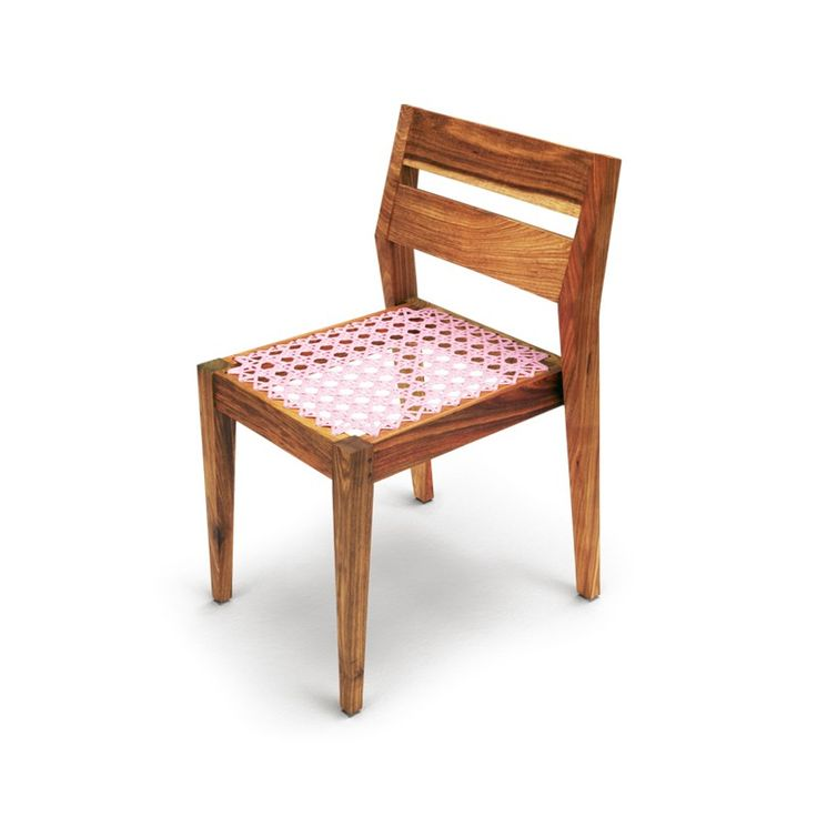 Riempie chair    Designer: Haldane Martin    The malaysian hand caning weaving used on the seat has been scaled up and woven in  durable plastic to give the collection a colourful twist.