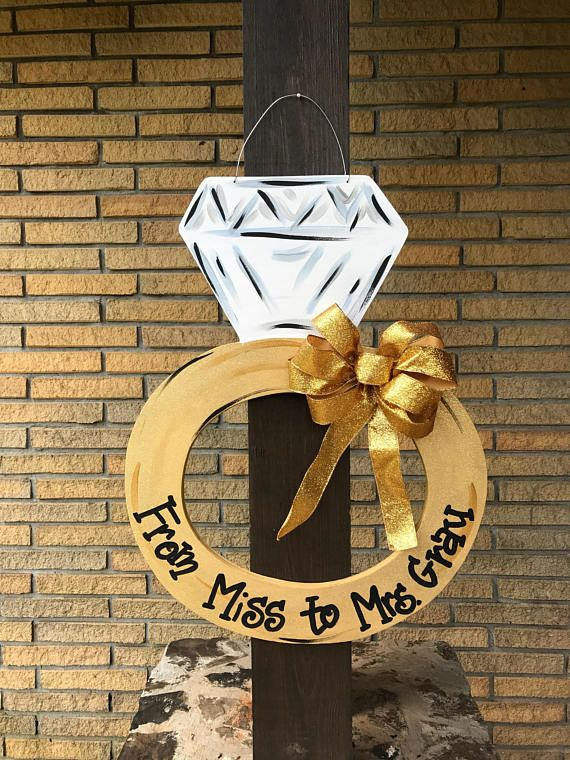 Engagement announcenent Engagement ring door hanger Bridal