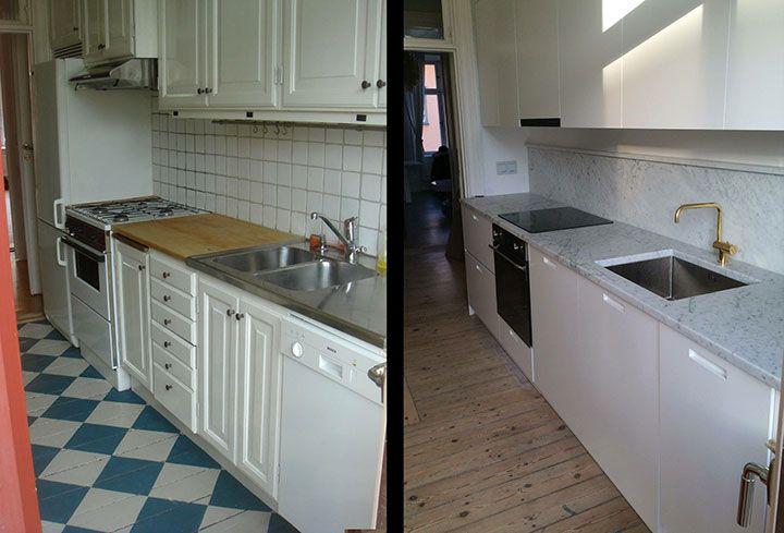 platsbyggt kök före efter marmor mässing moderskeppet stockholm