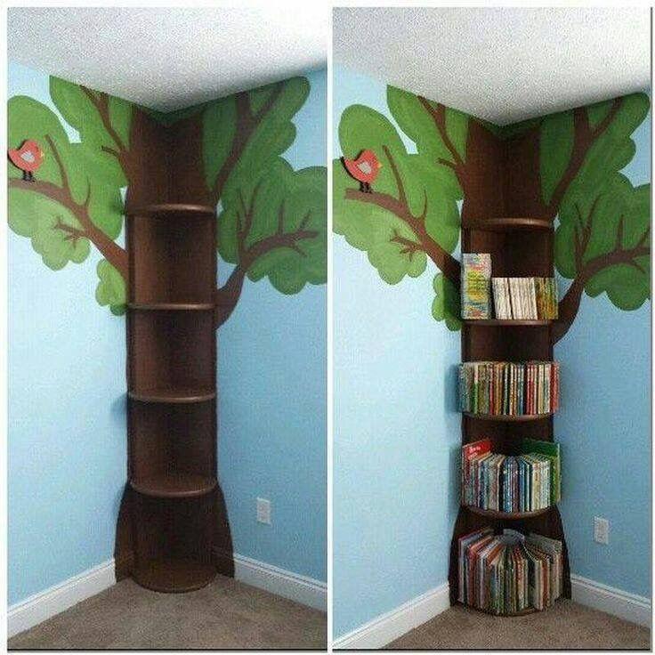 Cute tree corner shelves