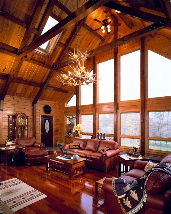 24 best images about log home great rooms on pinterest for Windows for log cabins