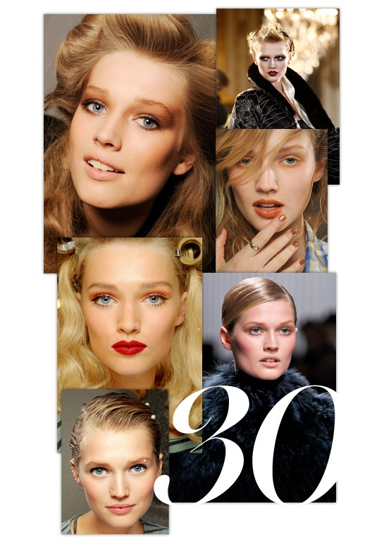 Toni Garrn en 30 make-up http://www.vogue.fr/beaute/tendance-des-podiums/diaporama/toni-garrn-en-30-make-up/9047