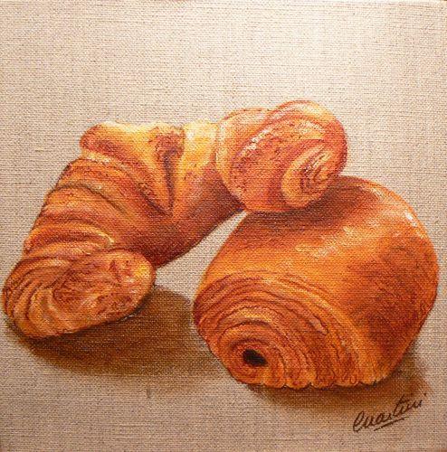 Tableau croissant,tableau pain au chocolat; By Catherine Martini