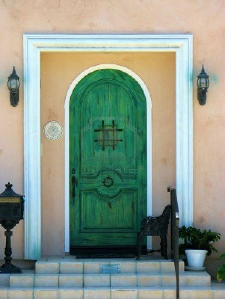 Exterior. Elegant Front Entrance Doors: Stunning Green Door Arch ...