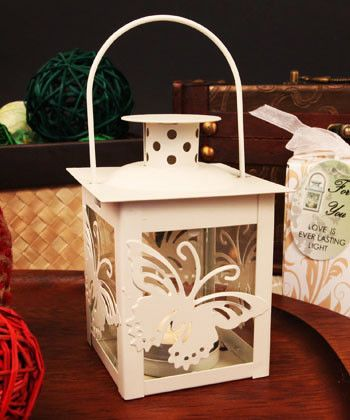"""Butterfly Light"" Glass Windowed White Butterfly Adorned Steel Lantern with Tea Light Candle"