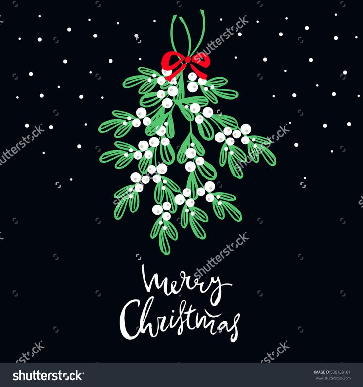 Christmas Hand Lettering . Mistletoe Wreath And Handwritten Lettering.  Text - Merry Christmas.Holiday Background.Unique Hand Drawn Design.Vector Illustration. - 536138161 : Shutterstock